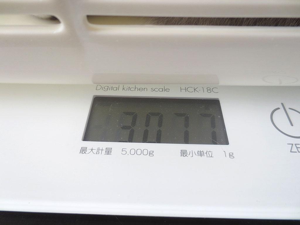 ロシ子の体重、3077gです。