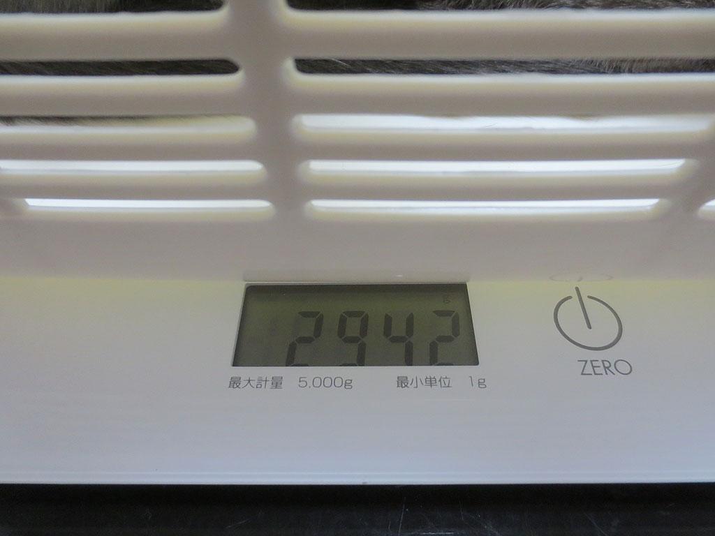 ロシ子の体重、2942gです。