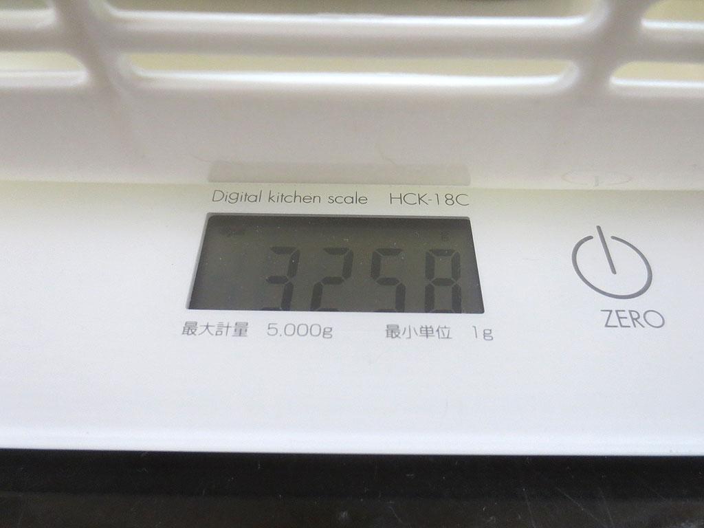 ロシ子の体重、3,258gです。