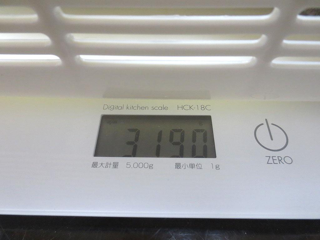 ロシ子の体重、3,190gです。