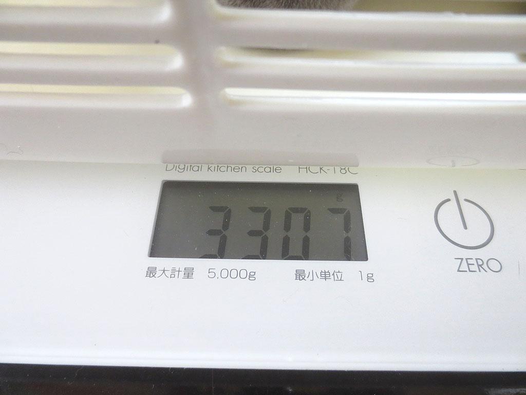 2度目の体重測定は3307g。