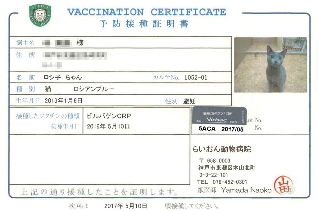 予防接種証明書。