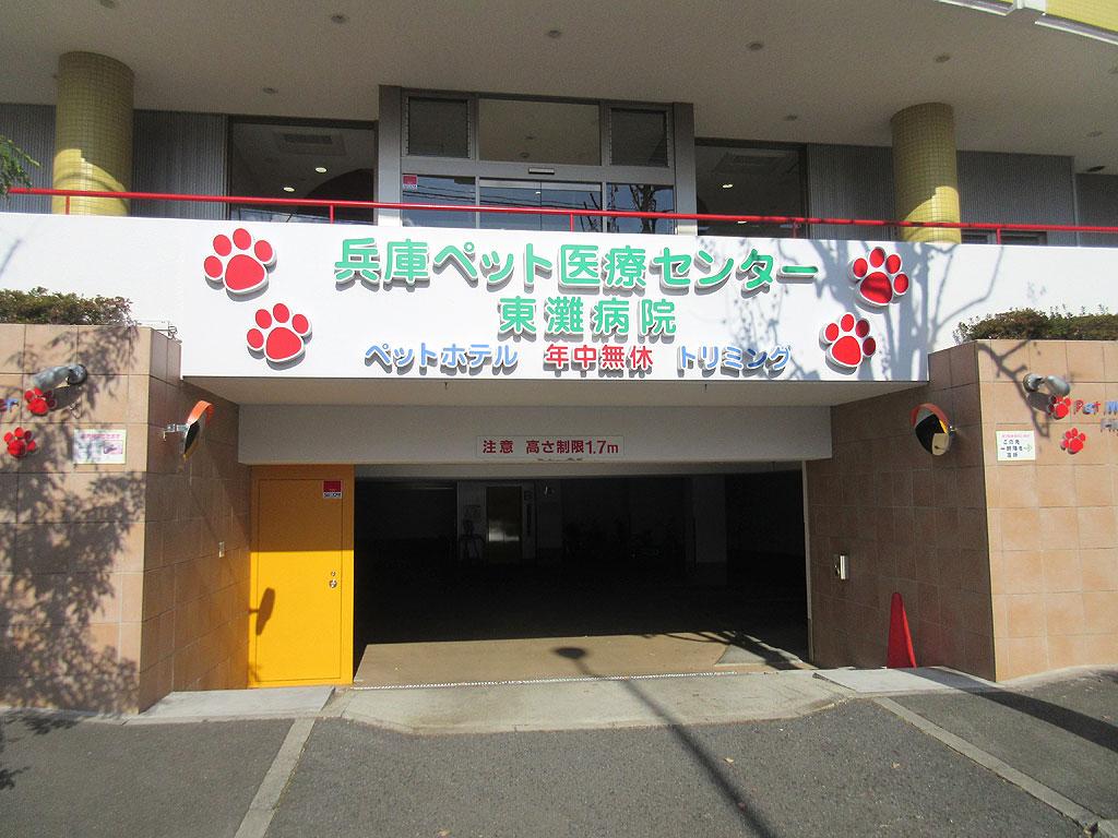 車庫も完備の動物病院。