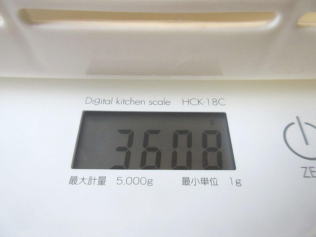 ロシ子の体重は3,608g。