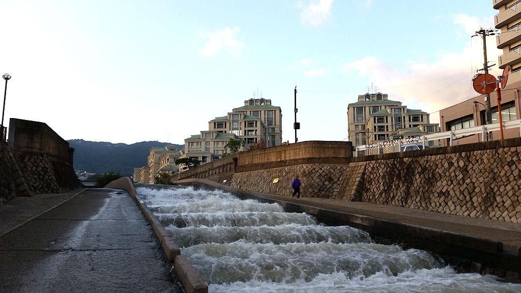 水が引いた住吉川。