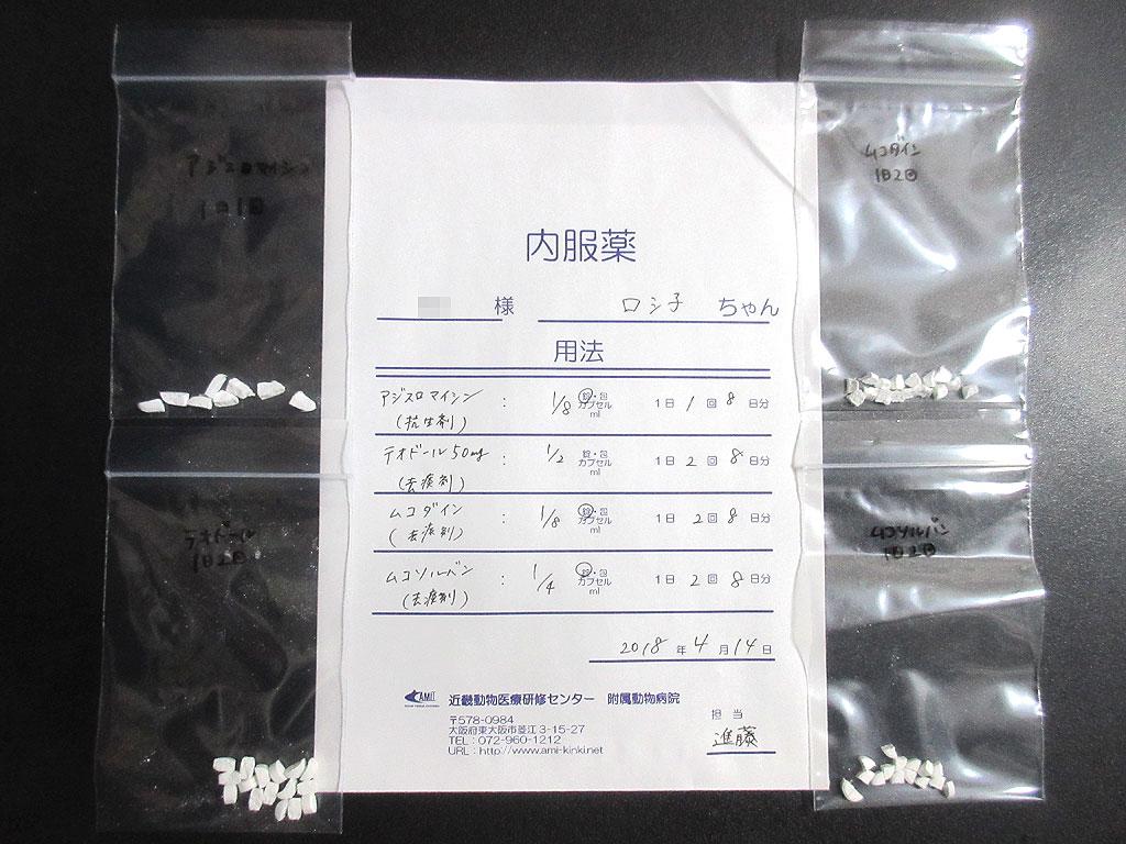 抗生剤と3種類の去痰剤。