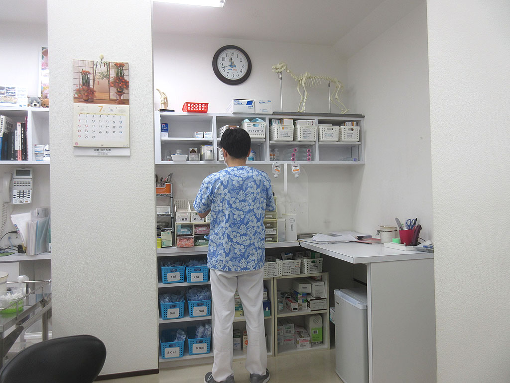 ワクチン注射の準備する先生。