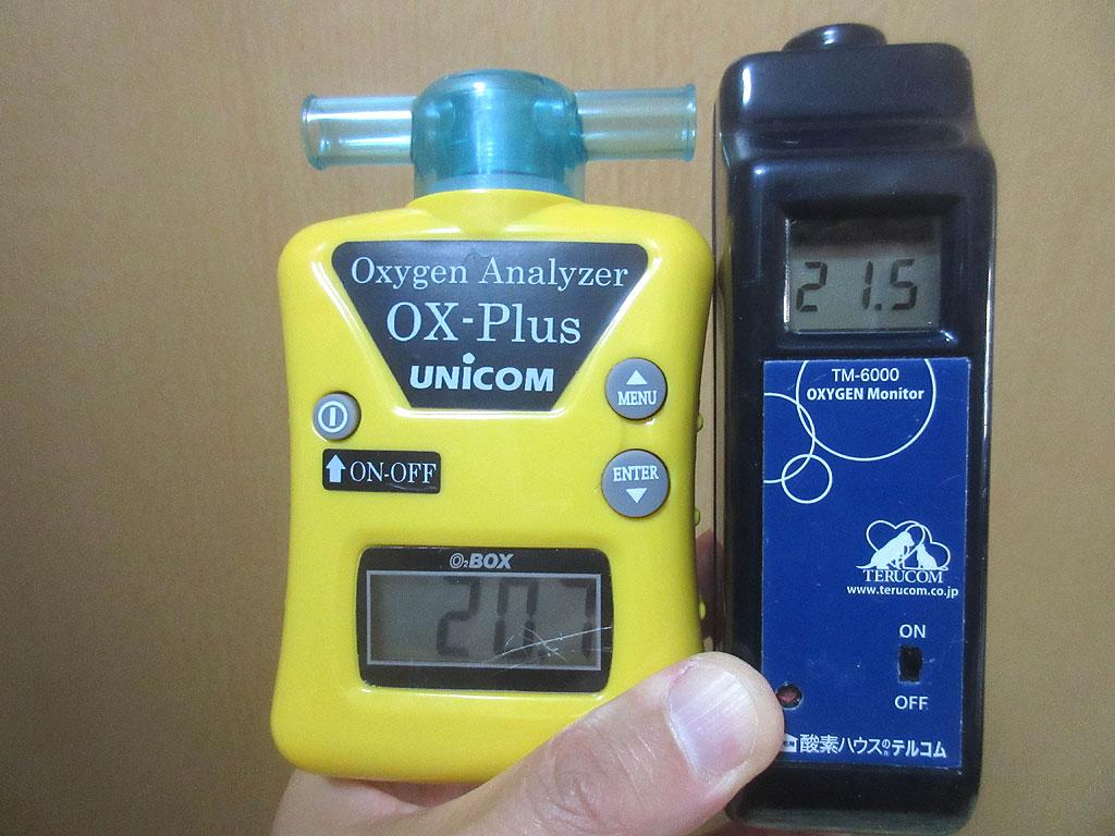 テルコムとユニコムの酸素濃度計。
