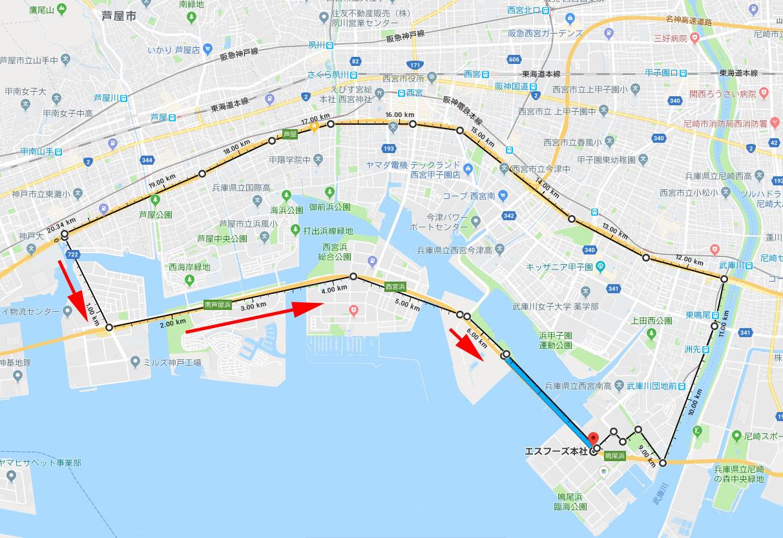 鳴尾橋の地図と私のコース。