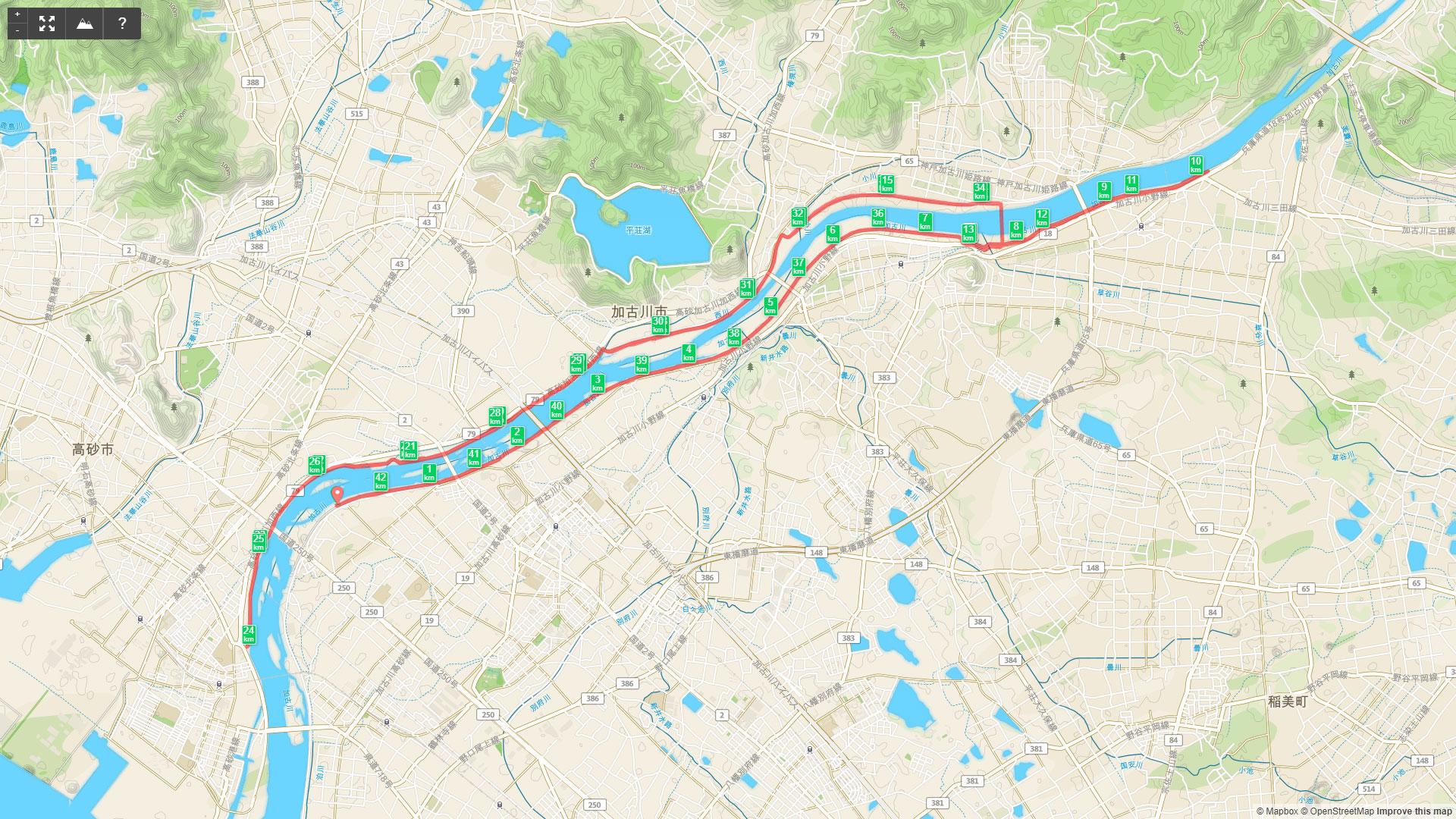 加古川マラソンの走ったルート。